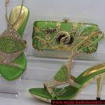 yeşil dore ayakkabı çanta modeli