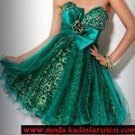 yeşil mini gece elbisesi modeli