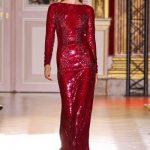 zuhair murad kırmızı payetli abiye modeli