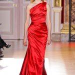 zuhair murad kırmızı saten abiye modeli