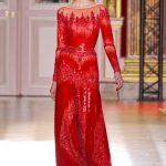 zuhair murad kırmızı uzun kol abiye modeli