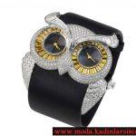 baykuş figürlü pırlanta saat modeli