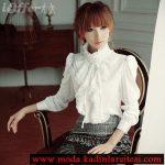 beyaz dik omuz volanlı gömlek modeli