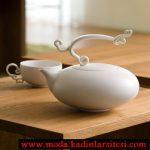 beyaz sade porselen çay takımı modeli