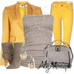 füme sarı pantolon kombin modeli