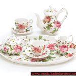 gül figürlü çay takımı modeli