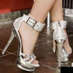 gümüş kemer detaylı stiletto modeli