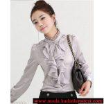 gri volanlı hakim yaka gömlek modeli