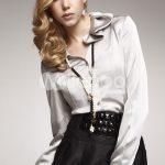 kırık beyaz saten volanlı gömlek modeli