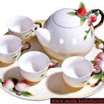 kırmızı çiçek figürlü çay takımı seti