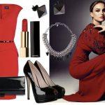 kırmızı elbise kombin modeli
