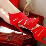 kırmızı nubuk stiletto modeli