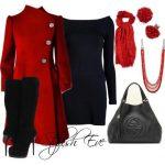 kırmızı siyah elbise kombin modeli