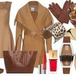 kahve rengi elbise kombin modeli