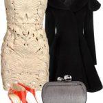 krem mini gece elbise kombin modeli