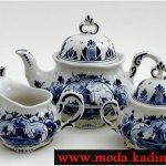 mavi beyaz çay takım modeli