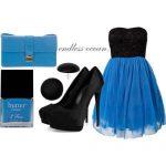 mavi siyah mini gece kombin modeli