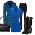 mavi tunik pantolon kombinasyon modeli