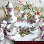mor çiçek figürlü çay takımı modeli