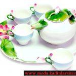 nilüfer figürlü çay takımı modeli