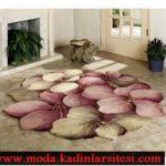 renkli çiçekli halı modeli