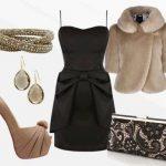 siyah bej elbise kombin modeli