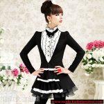 siyah beyaz volanlı gömlek modeli