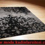 siyah gri desenli halı modeli