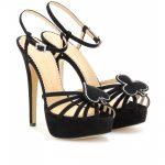 siyah kalp detaylı stiletto modeli