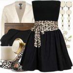 siyah leopar desenli elbise kombin modeli