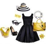 siyah pilikaşe elbise kombin modeli