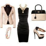 siyah saten kombin elbise modeli