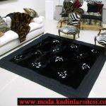 siyah tüylü halı modeli