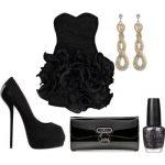 siyahj ruffle mini gece kombin modeli
