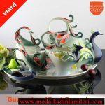 tavus kuşu figürlü çay takımı modeli