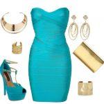 turkuaz gece elbise kombin modeli
