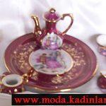 vişne rengi çay takımı modeli