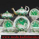 yeşil beyaz çay takımı modeli