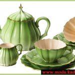 yeşil porselen çay fincanı takımı