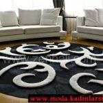 zen siyah beyaz yuvarlak halı modeli