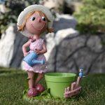 şeker kız figürlü dekoratif saksı modeli