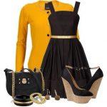 siyah sarı elbise kombin modeli