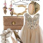 bej taşlı elbise kombin modeli