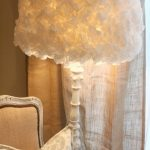 beyaz ruffle abajur modeli