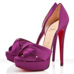 chiristian louboutin mor saten ayakkabı modeli