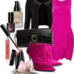 fuşya siyah elbise kombin modeli