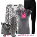 gri siyah leopar desenli pantolon kombin modeli