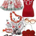 kırmızı beyaz iki parça elbise kombin modeli