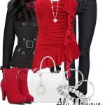 kırmızı bluz kot pantolon kombin modeli