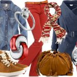 kırmızı mavi kot pantolon kombin modeli